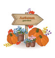autumn garden decor wood sign pumpkin and vector image