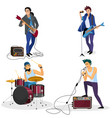 rock band members isolated musical group singer vector image