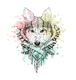 Black and white wild animal wolf head abstract vector image