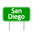San Diego green road sign vector image