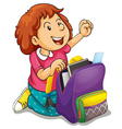 a girl with school bag vector image vector image