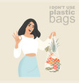 a young woman with an shopping net in her hands vector image