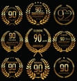 anniversary golden laurel wreath retro collection vector image vector image