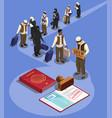 asylum seekers queue composition vector image vector image