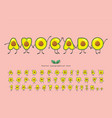 avocado summer font funny characters cartoon vector image vector image
