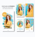 blue and yellow social media story marketing vector image vector image