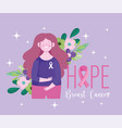 breast cancer awareness month hope woman flowers vector image vector image