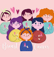 breast cancer group young women cartoon with pink vector image vector image