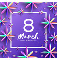 bright violet holographic flowers happy womens vector image vector image