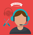 call center man operator technical help vector image vector image