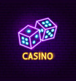 casino game neon label vector image vector image