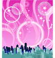 City on a background of pink sky with fireworks vector image vector image