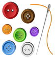 Clothes button set with needle vector | Price: 1 Credit (USD $1)