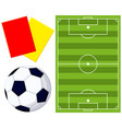 colorfull soccer ball field referee card icon set vector image vector image