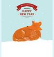 cute cartoon fox in snow vector image vector image