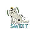 cute cat isolated with text on white background vector image