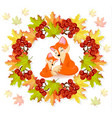 cute foxes cartoon character autumn vector image
