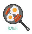 egg sausages on pan cartoon flat style vector image vector image