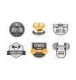 fitness center logo design set retro emblem vector image