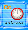 flashcard letter c is for clock vector image vector image