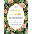 floral wedding invite card design with roses with vector image vector image