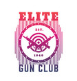 gun club emblem with automatic guns and target vector image vector image