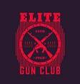 gun club vintage emblem with automatic rifles vector image vector image