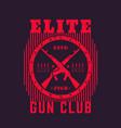 gun club vintage emblem with automatic rifles vector image