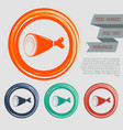 ham icon on red blue green orange buttons vector image vector image