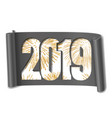 happy new year card white number 2019 gold vector image vector image