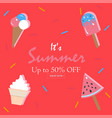 hello summer holiday card up to 50 off vector image vector image