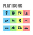 interior icons set with carpet wall shelf wash vector image