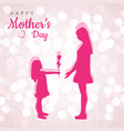 mathers day poster with daughter and roses in vector image