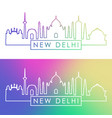 new delhi skyline colorful linear style editable vector image vector image