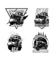 off-road atv buggy black and white logo vector image vector image