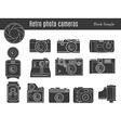 Old retro photo camera set vector image
