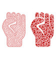 polygonal carcass mesh clenched fist and mosaic vector image
