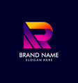 r letter logo initial r logo with gradient style vector image vector image