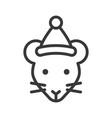 rat wearing santa hat outline icon editable stroke vector image vector image