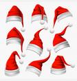santa claus hats christmas hat xmas furry vector image vector image