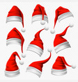 santa claus hats christmas red hat xmas furry vector image vector image
