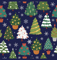 seamless christmas trees firs and pines pattern vector image