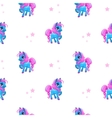 Seamless pattern with little cartoon blue pony vector image