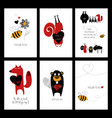 set love cards with animals vector image vector image