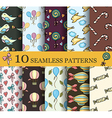 set of 10 child seamless pattern vector image vector image