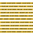 set of crime scene yellow tape police line vector image