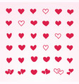 set of red hearts in different shapes and styles vector image vector image