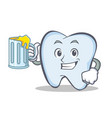 tooth character cartoon style with juice vector image vector image