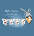 tooth removal concept poster banner vector image vector image