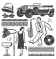 vintage retro party elements set vector image
